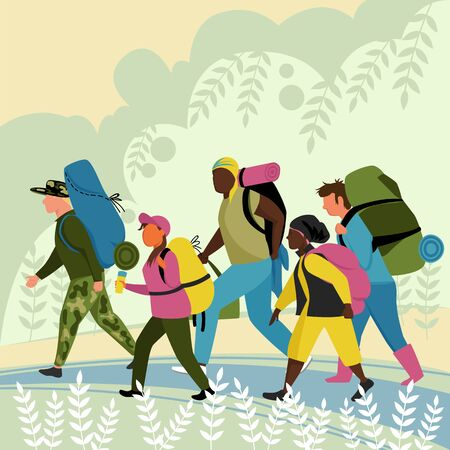 tourists. a group of people with backpacks goes on a walking tour in nature. vector