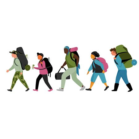 tourists. set of vector images of tourists with backpacks and Luggage