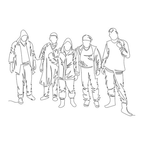 group of people. vector image with a single line. contour line. one line