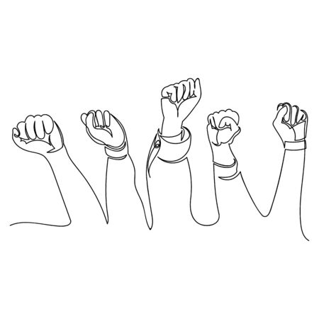 hands in the air. strike. vector contour image of hands. one continuous line 矢量图像