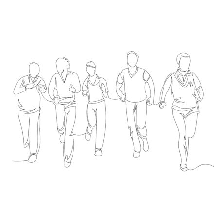 people are running. vector contour image of a group of people. one continuous line 矢量图像