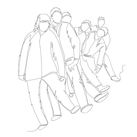people dance. the people in line. vector contour image of a group of people. one line Ilustração
