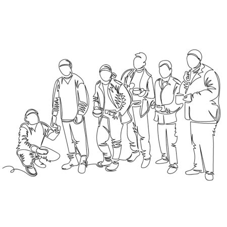 people in line. vector contour image of a group of people. one line. Doodle