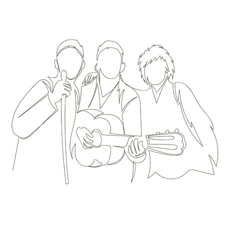 people sing. karaoke. vector outline image of a group of people with a guitar. one continuous line