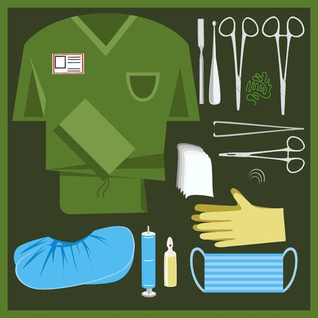 surgical kit. first aid kit. surgeon's tools and clothing. vector image 免版税图像 - 141028463