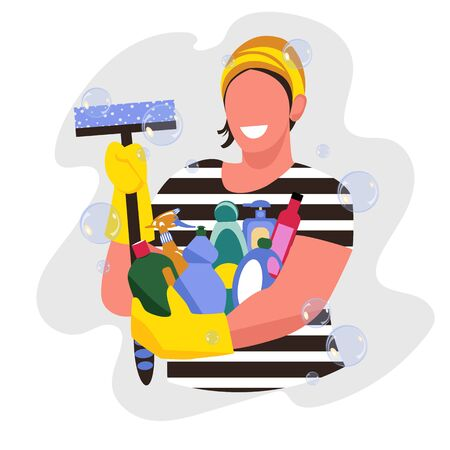 cleaning woman. a set of detergents. vector image of a man with a cleaning brush 矢量图像