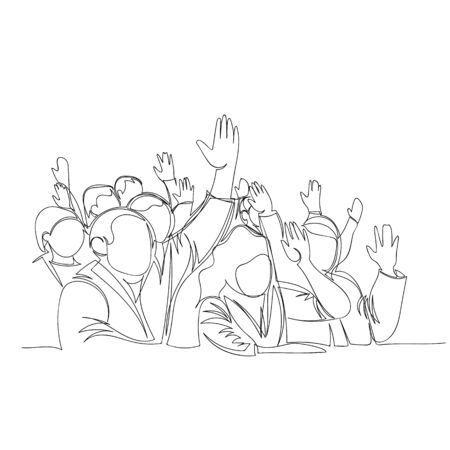 crowd of people. vector contour image of a group of people. one continuous line