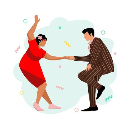 people dance. vector image of a dancing couple. fashionable dance of the last century