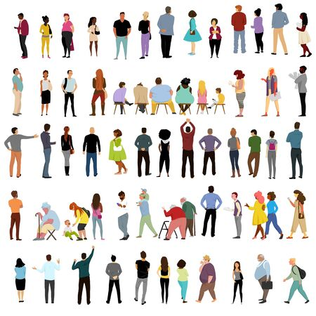 people. vector isolated image of people. a set of vectors. people in different poses 矢量图像