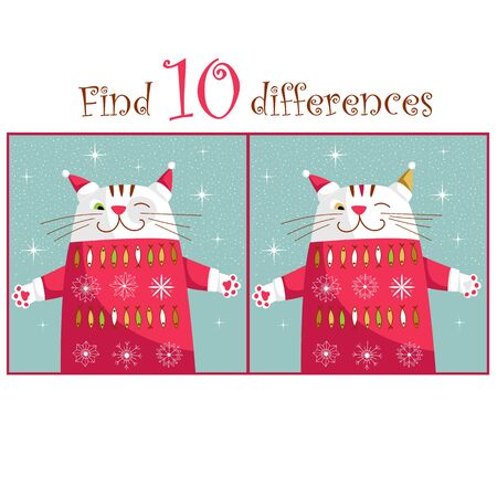 puzzle for children. spot the difference. vector image with different images of cats 矢量图像
