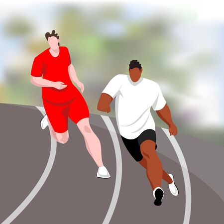 runners. sprinters. vector image of athletes at the stadium during the competition