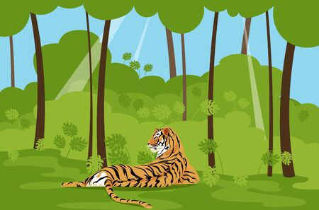 tiger in the jungle. big cat. wild beast. vector image of a tiger in nature 矢量图像
