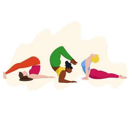 yoga. women in yoga poses. vector image of people engaged in sports