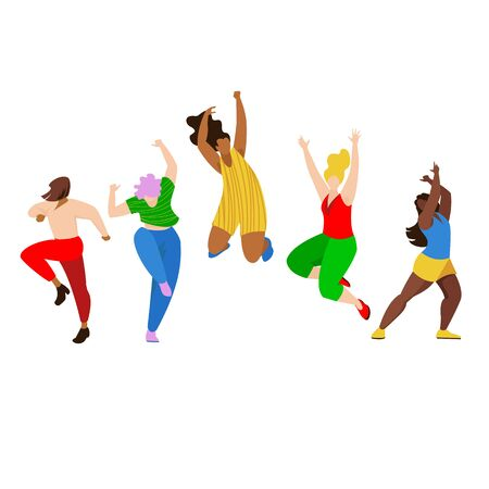happy people. vector image of a group of people . people dance. people jump
