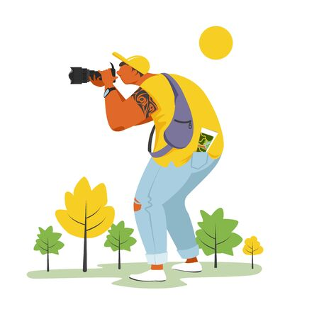 photographer. vector image of a person taking photos of nature. tourist in nature 矢量图像