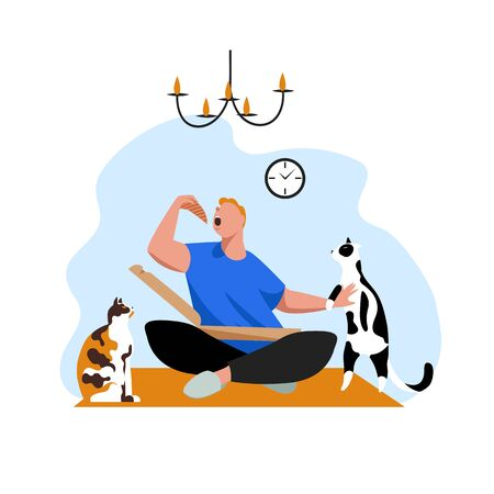 a man eats pizza. the man with the cats. vector image of a man at home 矢量图像