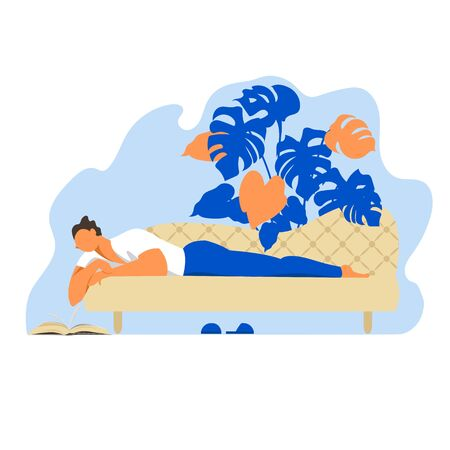 a man is lying on the sofa. vector illustration of a man reading a book lying on a sofa 矢量图像