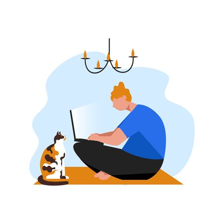 a person makes an order online. a man with a cat. vector image of a man with a computer