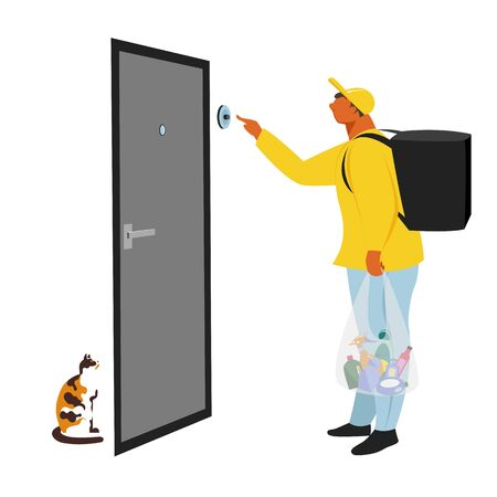 food delivery. vector illustration of a person delivering food and hygiene products to your home