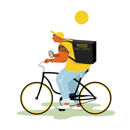 food delivery. vector image of a food delivery man at home on a Bicycle