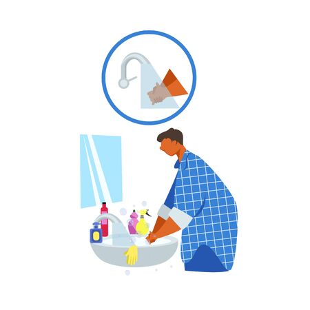 hand washing. prevention of virus infection. disinfection of the hand skin. vector image