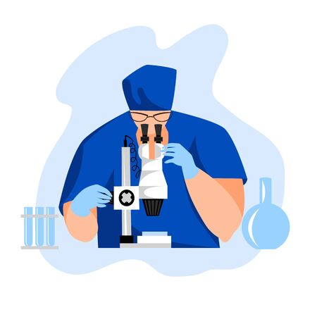 laboratory assistant with a microscope. vector image of a laboratory specialist