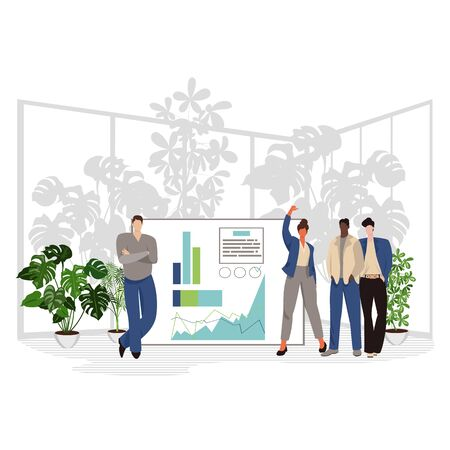 office worker. vector illustration of a group of businessmen at a presentation. teamwork 免版税图像 - 143604341
