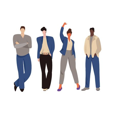 office worker. vector illustration of a group of people in office clothes. freestyle 矢量图像