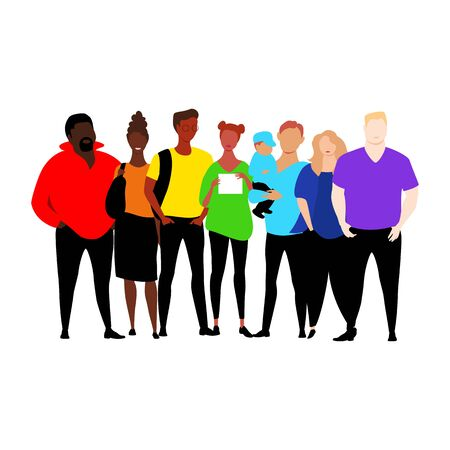 people of different races in colored clothing. wear the colors of the rainbow. vector illustration 矢量图像