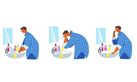 prevention of the virus at home. a man washes his hands and face in the bathroom . vector
