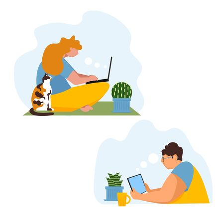 remote work. online communication. people work from home. vector illustration of people with a computer 免版税图像 - 143604324