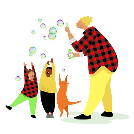 the man with the soap bubbles. a man blows soap bubbles. father plays with children and cat. vector 矢量图像
