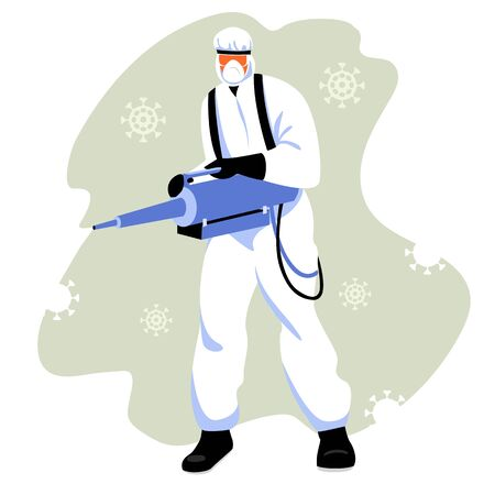 treatment of the virus. a person in protective clothing sprays the virus. vector image