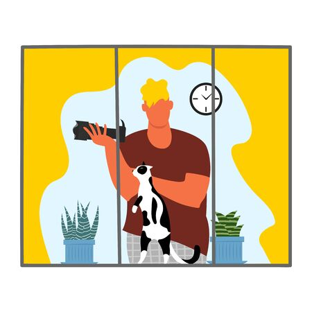 a man near the window. a man takes photos from a window. a man with a cat at home. vector
