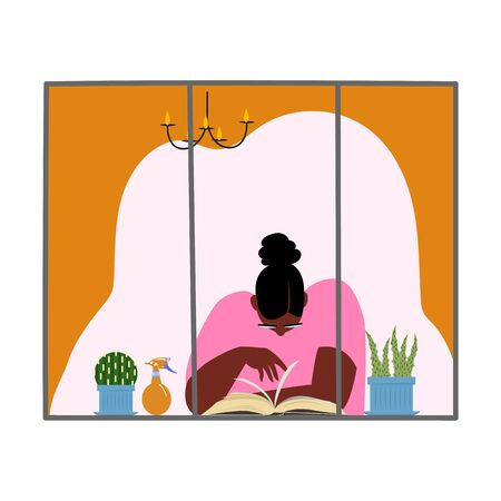 a woman reads a book. girl at home near the window. vector image of self-isolation 矢量图像