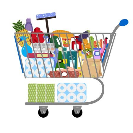 cart store. vector image of a shopping cart. a set of products and basic necessities 矢量图像
