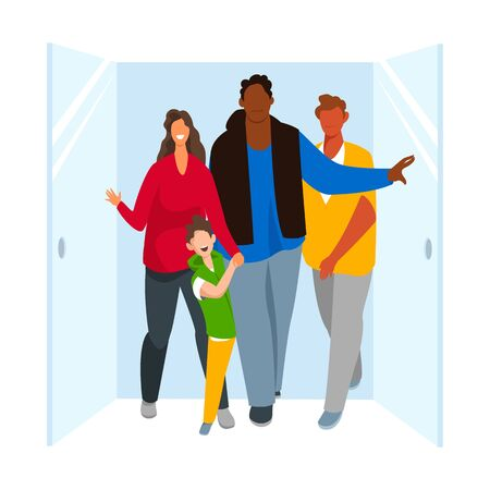 people come out of the door of the room to the street. group of people. vector illustration