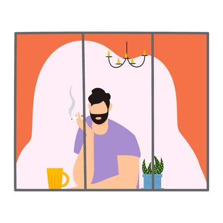 smoker. a person smokes at home near the window. vector image of a person in a window 免版税图像 - 144218873