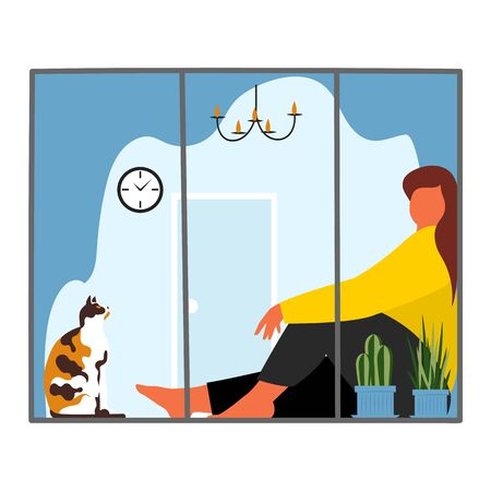 the woman on the windowsill. a woman with a cat near the window. self-isolation of the house. vector