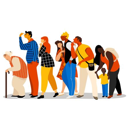 people. vector image of people of different races in different poses. people are waiting in line