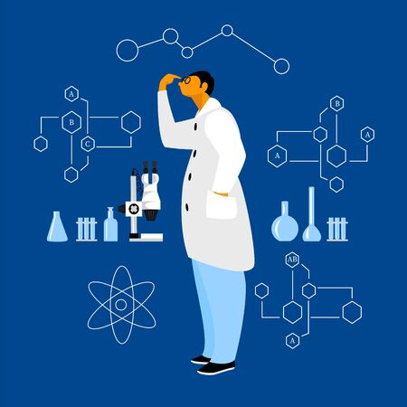 scientist. vector illustration of a scientist with laboratory equipment. scientific discovery 矢量图像