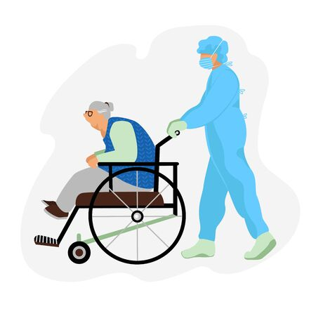 transportation of the patient. an old man in a wheelchair. a nurse is transporting a patient. vector