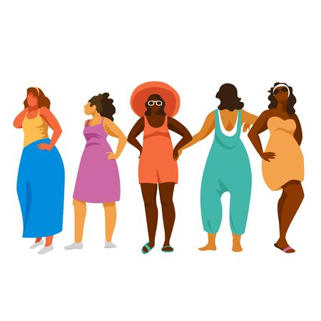 women in beach clothes. vector illustration of women of different races. set of images 矢量图像