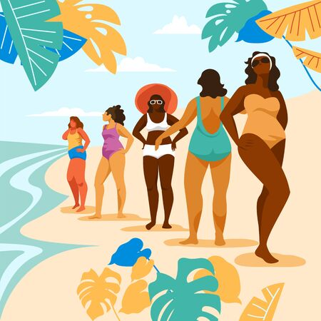 women on the beach. vector illustration of people on vacation at the sea. woman sunbathing