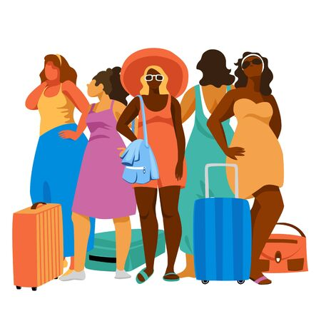 women with Luggage. set of vector illustrations of women in casual clothing for leisure with suitcases 免版税图像 - 145059585