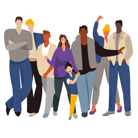 group of people. people are different races. adults and children.vector illustration 矢量图像