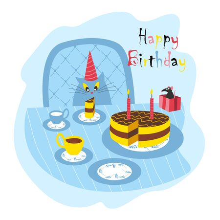 happy birthday. vector illustration of a cat in a festive hat. celebratory feast 免版税图像 - 145059595