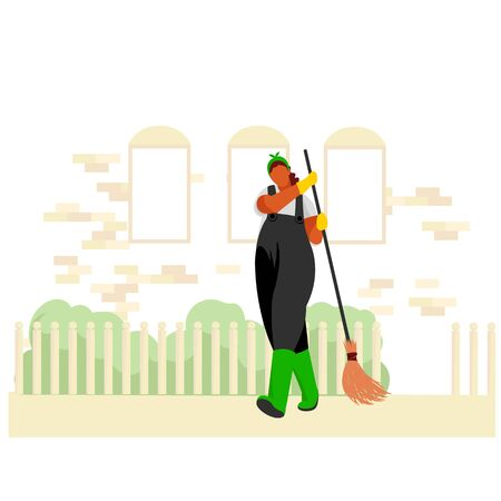 janitor. gardener. a woman sweeps the street. cleaning the yard. vector illustration 矢量图像