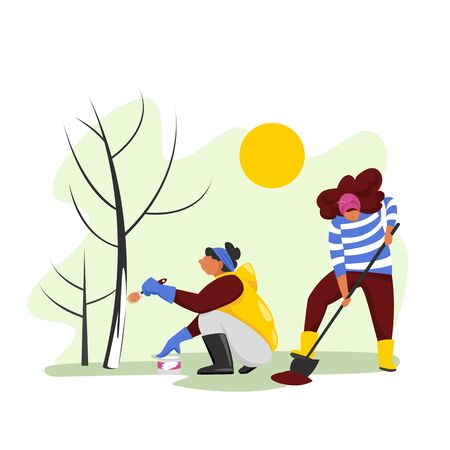people work in the garden. spring work. planting and protecting trees. vector image 免版税图像 - 145059599