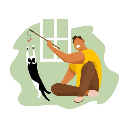 a man plays with a cat. vector image of a man and a cat. playing with a pet